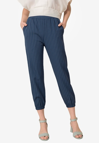 Kodz blue Striped Ankle Pants 8D8CEAAF92A988GS_1
