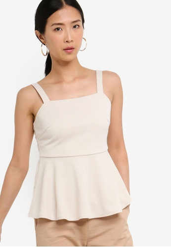ZALORA BASICS beige Basic Square Neck Sleeveless Peplum Top FFD86AA85605CEGS_1