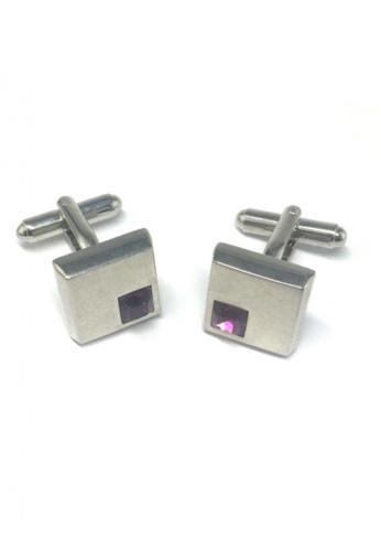 Splice Cufflinks silver Purple Crystals Inserts Square Cufflinks SP744AC45FRYSG_1