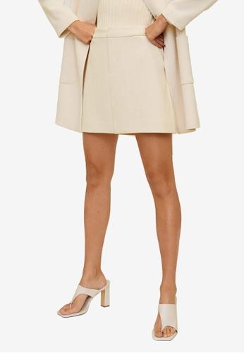 Mango beige Straight Mini Skirt 65A7DAA607BAE8GS_1