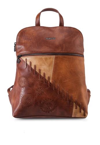 Desigual brown Leather Effect Mandalas Backpack 212D3AC2EF467BGS_1