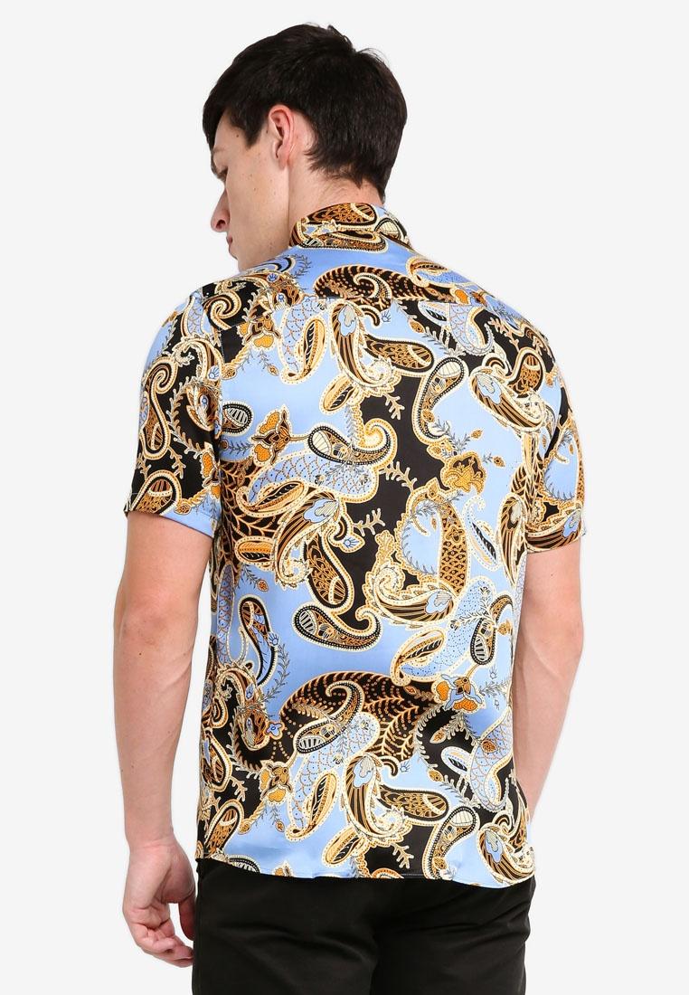 Shirt Print Premium Short Paisley Blue Topman Sleeve w07Hx74