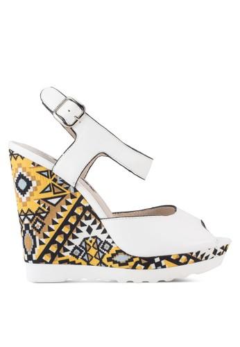 露趾繞踝esprit地址楔型高跟涼鞋, 女鞋, 鞋
