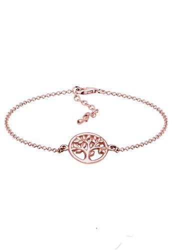 Elli Germany gold Perhiasan Wanita Perak Asli - Silver Gelang Coin Tree Rosegold Plated EL948AC41ZPQID_1