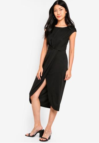 ZALORA black Pleated Midi Dress 4A9F9AABE4A400GS_1