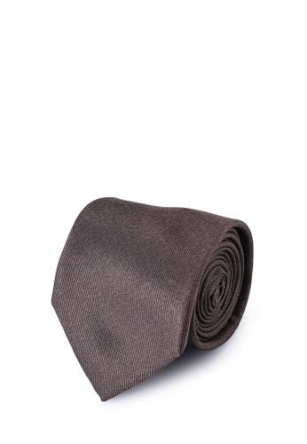 Sacoor Brothers brown Men's Silk Tie 7680AAC4316347GS_1