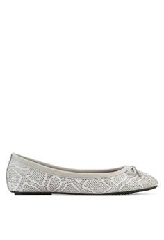 【ZALORA】 蛇紋蝴蝶結娃娃鞋