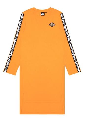 Mini cream orange Side tape dress 235E5AA569FAB7GS_1