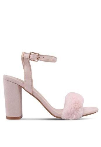 ZALORA beige Faux Fur Sandal Heels 4ADBFSH34B82B1GS_1