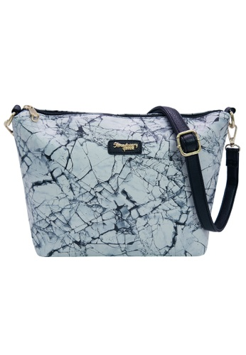 STRAWBERRY QUEEN grey and white Strawberry Queen Flamingo Sling Bag (Marble P, Grey) 61300AC74A8D39GS_1