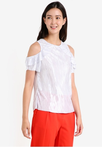 Dorothy Perkins silver Silver Cold Shoulder Plisse Top DO816AA0RA68MY_1