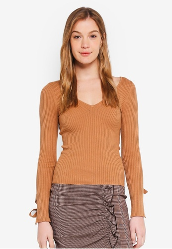 Guess brown Isabelle Tie Sleeve Sweater Top 02292AA9747EA8GS_1