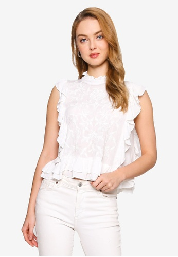 Brave Soul white Embroidery High Neck Frill Top 0914BAA32EAFD9GS_1