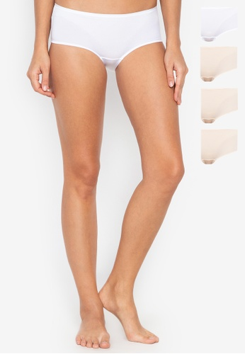 MARKS & SPENCER white and beige 5 Pack No VPL Microfibre Low Rise Shorts F4364US12A963CGS_1