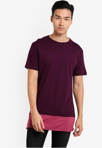 Topman red Burgundy Longline Contrast Hem T-Shirt TO413AA57XLMMY_1