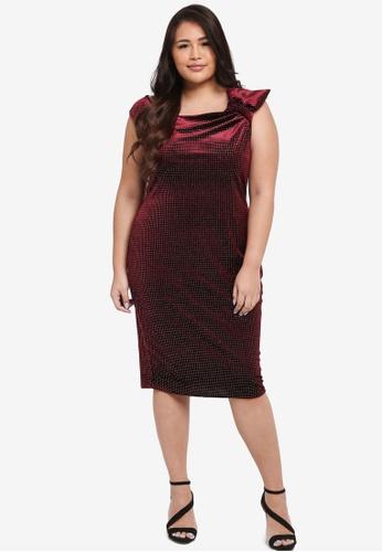 Goddiva red Plus Size Glitter Velvet Midi Dress With Bow Detail 7D38DAA05A23A9GS_1