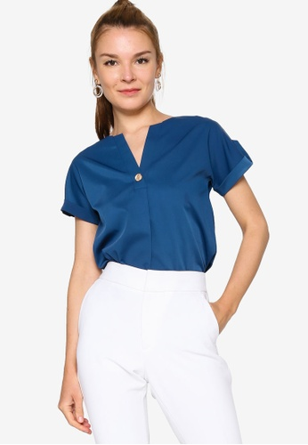ZALORA WORK green Trim Detail Top 09501AA28780F8GS_1