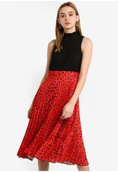 c0f88928c63 CLOSET red Gold Pleated Dress E5F59AA9BEC1EDGS 1