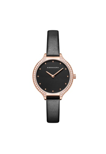 BCBG black BCBGMAXAZRIA BG50678003 Rose Gold and Black Leather Watch 70393ACF419938GS_1