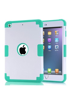Shockproof Dual Layer Rugged Armor Case for iPad mini 4 - White/Green