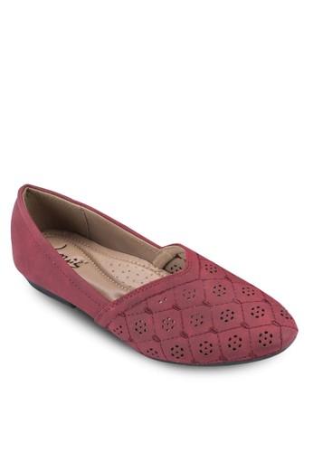 沖孔esprit服飾雕花拼接平底鞋, 女鞋, 芭蕾平底鞋
