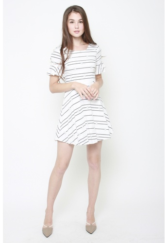 Sophialuv white All Set to Bow Striped Work Dress B69A9AA71EC58DGS_1