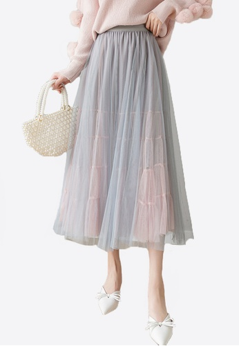 Halo grey and pink Layered Net Yarn Skirt 377BDAA48334F9GS_1