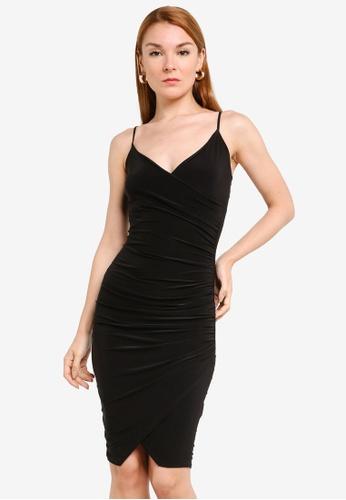 MISSGUIDED 黑色 Strappy Slinky Wrap Midi Dress A994CAA700DB9BGS_1