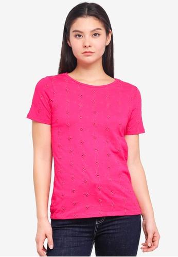 Dorothy Perkins pink Raspberry Broderie Tshirt 1485AAA9BE0ECEGS_1