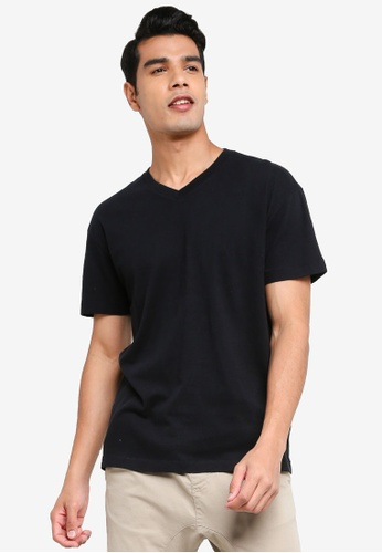 ABERCROMBIE & FITCH black Essential V-Neck T-Shirt 08E8BAAE6DBC58GS_1