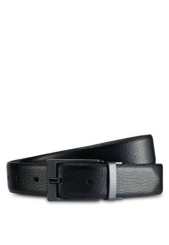 Burton Menswear London black Black Textured Edge Belt BDAEBACAF469F2GS_1