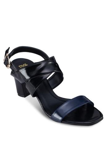 一字帶粗跟繞踝涼鞋, 女鞋, zalora 泳衣鞋