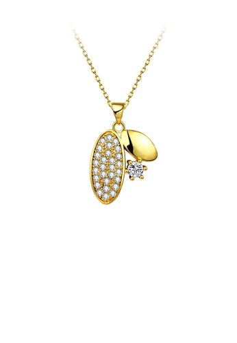 Glamorousky white Simple Plated Gold Geometric Oval Pendant with Cubic Zircon and Necklace 5F4DFAC63C618FGS_1