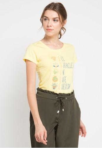MEIJI-JOY yellow Print See Miracles short sleeve Tshirt ME642AA0VRIUID_1