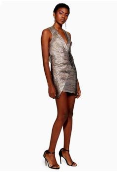 57ac5d94a47 60% OFF TOPSHOP Rainbow Metallic Wrap Dress RM 409.00 NOW RM 163.90 Sizes 6  8 10