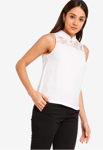 ZALORA white Mandarin Collar Lace Top 5A828AA2BAE700GS_1