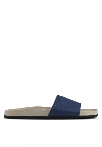 JAXON navy Essential Faux Suede Pool Sliders C877BSH6046E7AGS_1