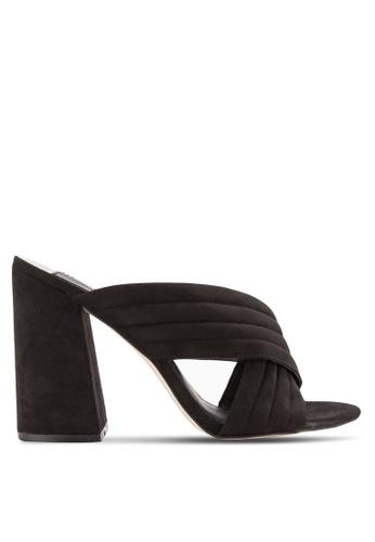 Dorothy Perkins 黑色 Sydney 懷蝶鞋帶粗跟穆勒鞋 DO816SH40LWHMY_1