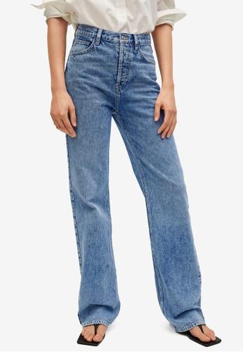 Mango blue High Waist Straight Jeans CEE50AA6D06876GS_1