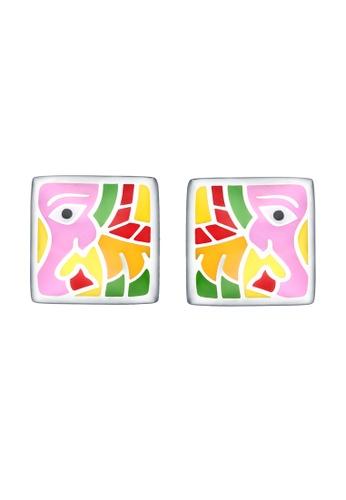 Vedantti multi Vedantti 925 Sterling Silver Madhubani Enamel Elephant Stud Earrings C098EACA9249E2GS_1