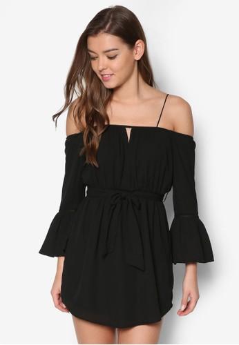 挖肩褶飾喇叭袖洋裝, esprit outlet尖沙咀服飾, 洋裝