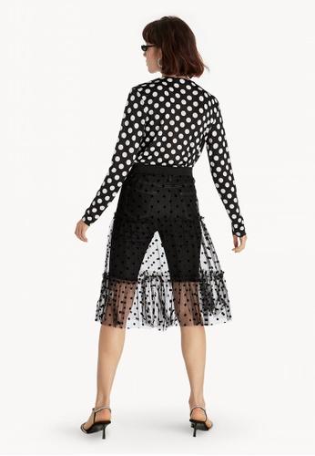 30afb6679c4b0d Shop Pomelo Midi Sheer Polka Dot Skirt - Black Online on ZALORA ...
