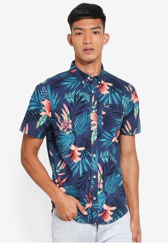 Hollister 海軍藍色 Short Sleeve Floral Shirt A98BAAAABF0794GS_1