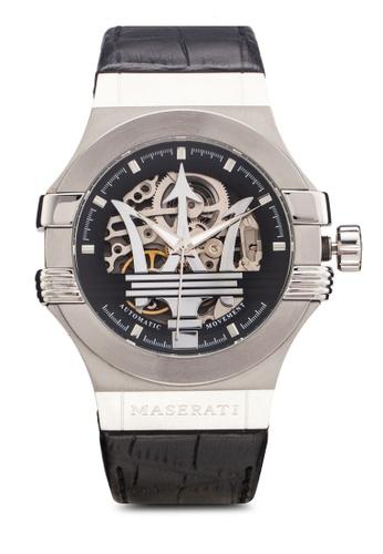 Maserati black Maserati Potenza Men's Automatic Leather & Pc Strap Watch R8821108001 MA410AC13UUGMY_1