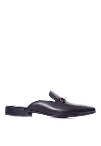 Zeve Shoes black Zeve Shoes Mules - Black Leather Brass Horsebit Buckle 1D58FSH2573BC0GS_1
