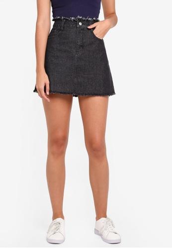 Something Borrowed black Frayed Hem Mini Skirt 78CD1AA192C426GS_1