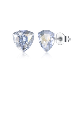 Glamorousky blue 925 Sterling Silver Simple Geometric Triangle Light Blue Austrian Element Crystal Stud Earrings CC515AC0427F28GS_1