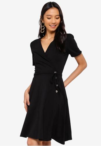Dorothy Perkins 黑色 鈕釦交叉短洋裝 703DBAAFD20841GS_1