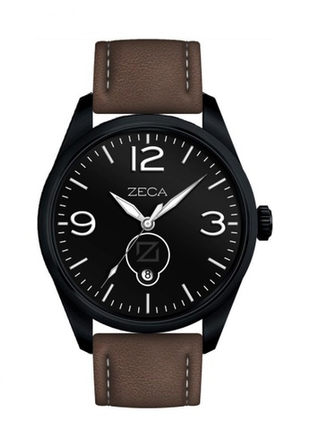 ZECA black and white and brown Zeca Watches Men Fashion Leather Analog - 214M Brown Black ZE260AC51SIISG_1