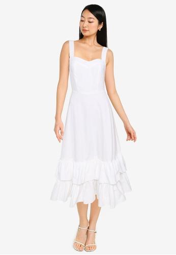 ZALORA BASICS white Sweetheart Tiered Dress 48594AADB020EEGS_1